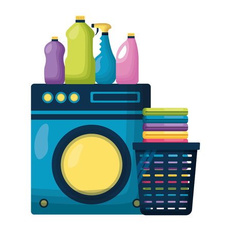 washing machine laundry bottles spring cleaning tools vector illustration Ilustração