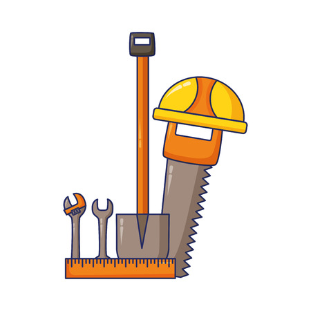 helmet saw shovel wrench construction tool vector illustration
