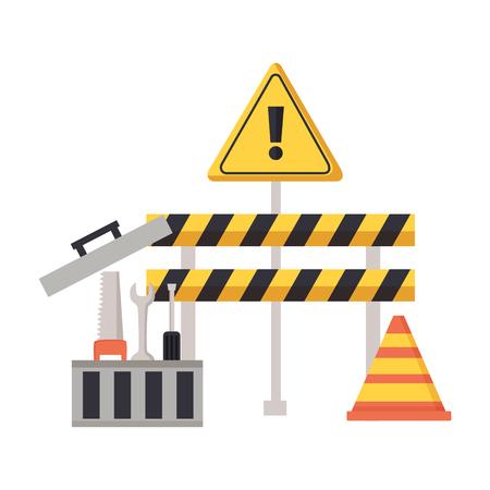 construction barrier cone box tools vector illustration  イラスト・ベクター素材