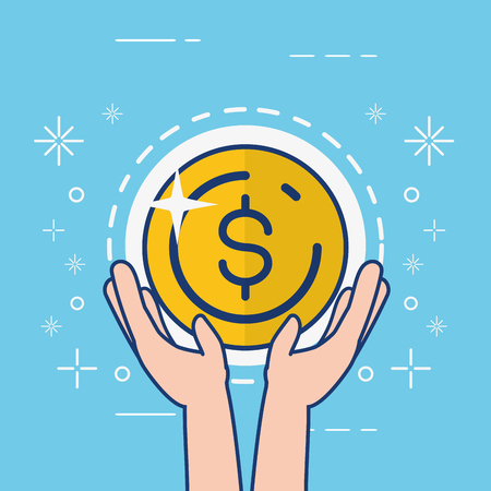 hands holding coin dollar online banking vector illustration