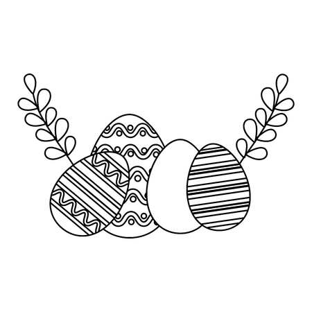 happy easter eggs leaves branch vector illustration