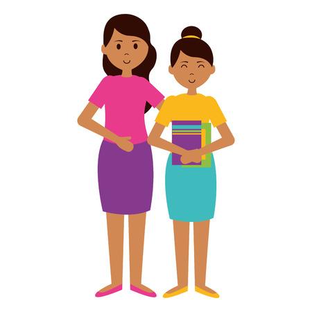 woman and school girl teachers day card vector illustration Stockfoto - 122873334