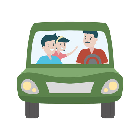 family father with kids in the car vector illustration design