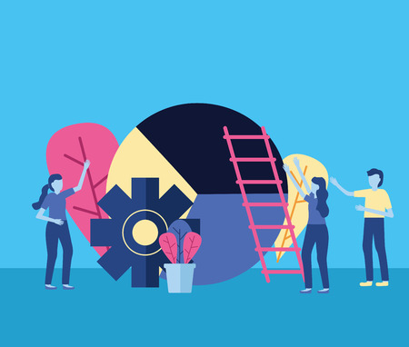 La gente de negocios escalera de engranajes gráfico, diseño de ilustraciones vectoriales Ilustración de vector