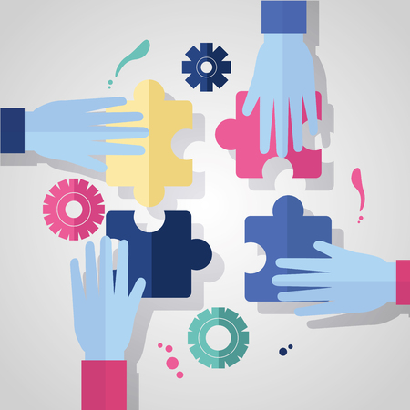 hands puzzles pieces team business gears vector illustration 向量圖像