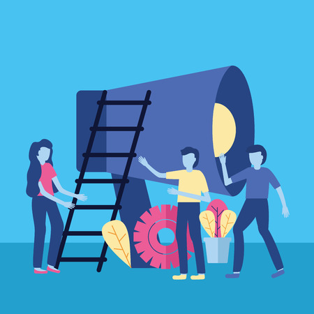 business people loudspeaker stairs vector illustration design