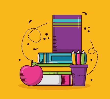 books apple pencils school teachers day vector illustration design Illustration