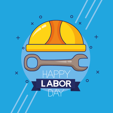 hand with wrench labour day vector illustration Ilustração