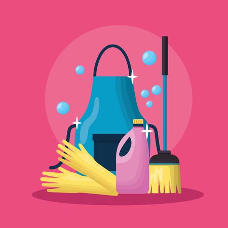 Delantal guantes escoba detergente líquido herramientas de limpieza de primavera ilustración vectorial