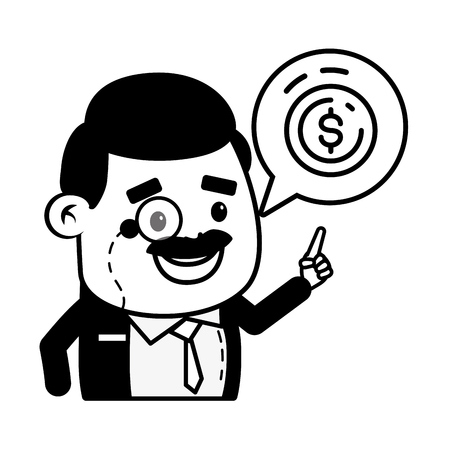 businessman money coin online banking vector illustration