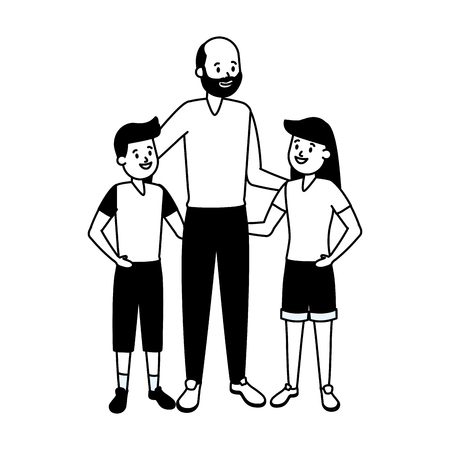grandfather and kids family vector illustration design Stock fotó - 122873381