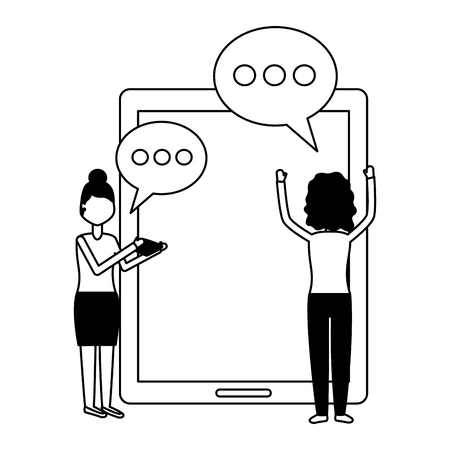 women smartphone chat message social media vector illustration Foto de archivo - 122873384