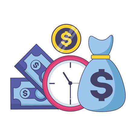 Billet d'argent sac horloge paiement d'impôt vector illustration