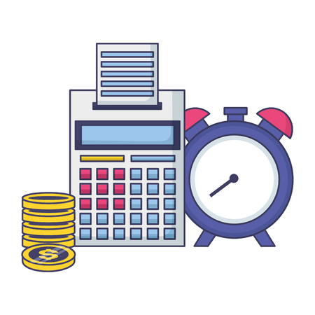 calculator clock coins tax time payment vector illustration 스톡 콘텐츠 - 122873397
