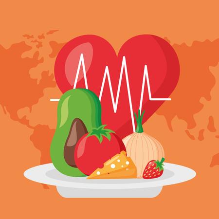 heartbeat food fresh world health day vector illustration
