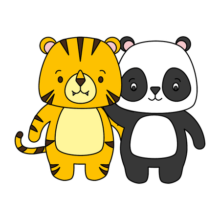 cute panda and tiger animal cartoon vector illustration Banque d'images - 122873405