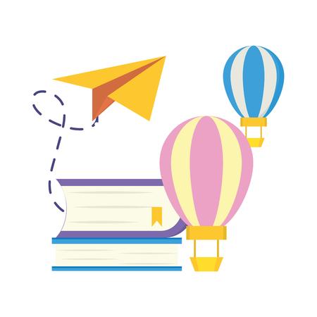 textbook air balloons paper plane - world book day vector illustration Stock Illustratie