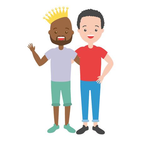 couple men lgbt pride vector illustration design