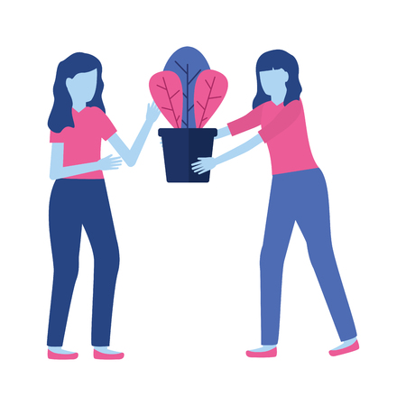 two woman with potted plant decoration vector illustration