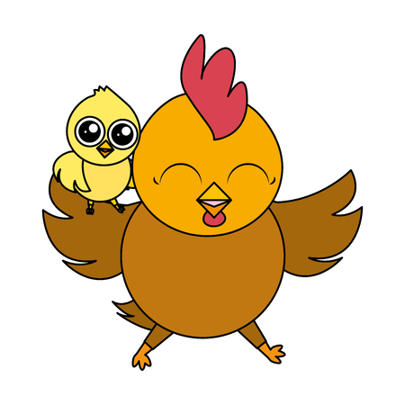 cute hen and chick cartoon vector illustration Foto de archivo - 122873451