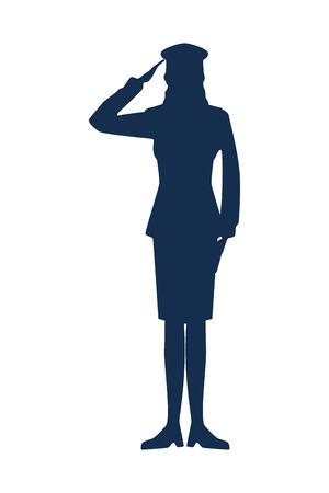 femme militaire, silhouette, icône, vecteur, illustration, conception