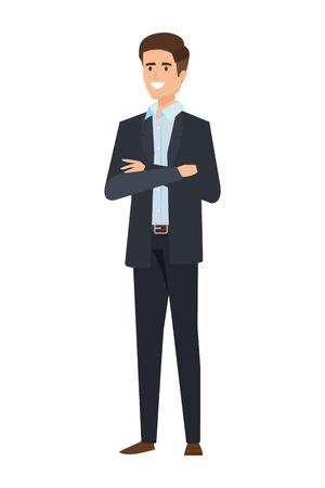 elegantes Geschäftsmannavataracharakter-Vektorillustrationsdesign Vektorgrafik