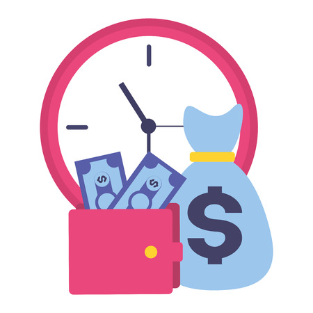 clock money bag wallet tax time payment vector illustration