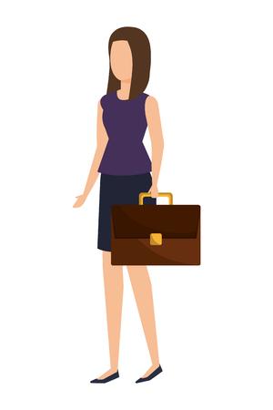 elegant businesswoman with portfolio vector illustration design Standard-Bild - 122873487