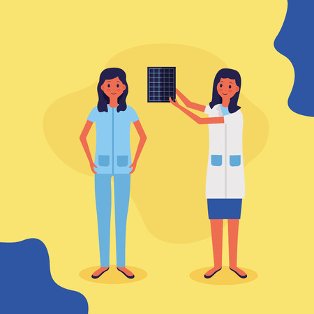medical people staff female doctor nurse vector illustration Illustration