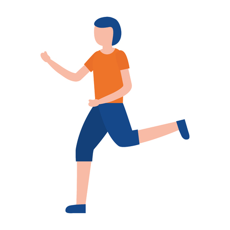 young man training sport activity vector illustration 向量圖像