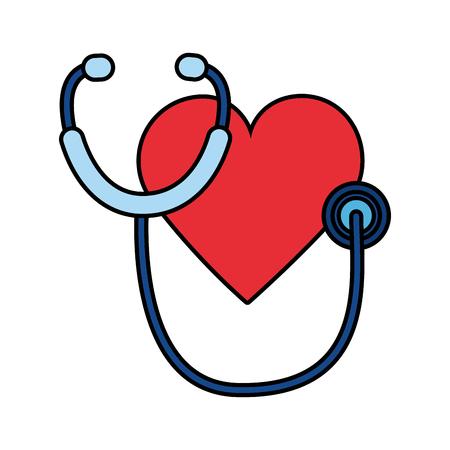 Illustration vectorielle de coeur stéthoscope journée mondiale de la santé