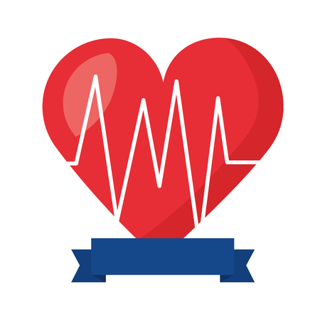 heartbeat cardiology ribbon on white background vector illustration