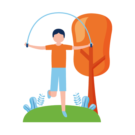 sporty man jumping rope activity outdoors vector illustration Stock Vector - 122873820