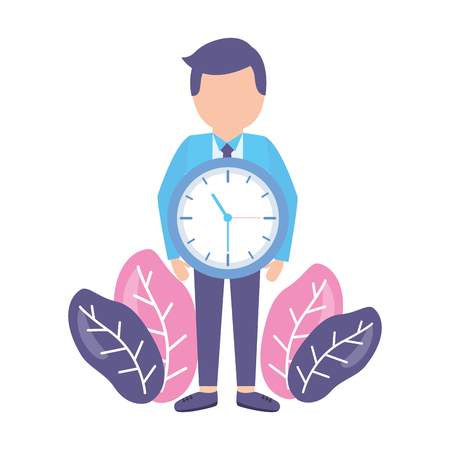 businessmen clock time on white background Stock Vector - 122873833