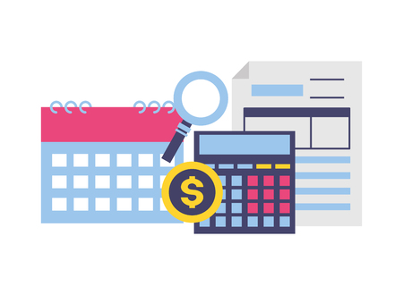 calculator calendar form analysis money tax time payment vector illustration Illustration