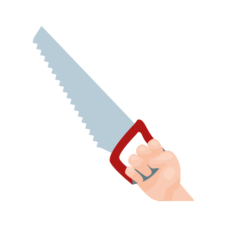 hand holding saw on white background vector illustration
