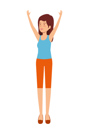 cute girl practicing exercice vector illustration design 向量圖像