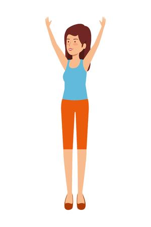 cute girl practicing exercice vector illustration design Illustration