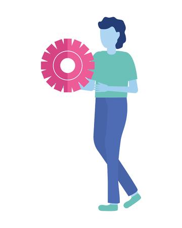 businessman holding gear work vector illustration design Иллюстрация