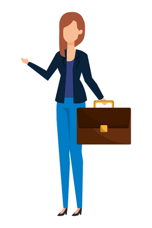 elegant businesswoman with portfolio vector illustration design Standard-Bild - 122873923