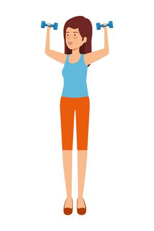 cute girl lifting dumbbells vector illustration design