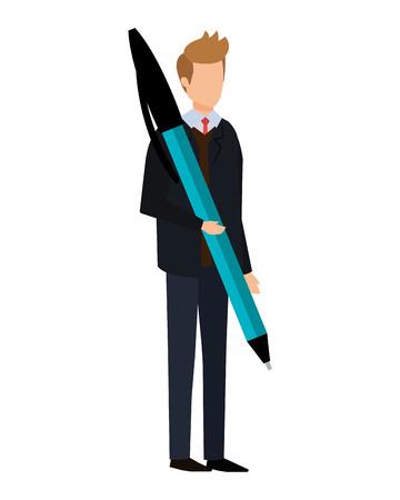 elegant businessman with big pen vector illustration design
