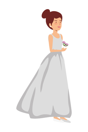 recently married woman character vector illustration design