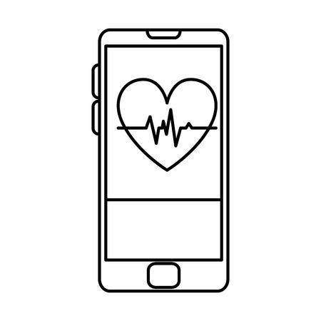smartphone with heart cardio health app vector illustration design
