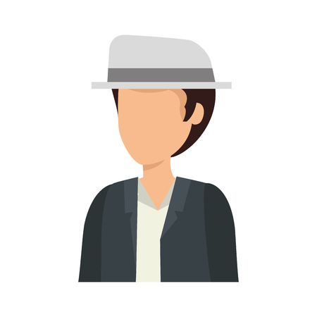 young man with elegant hat avatar character vector illustration design 向量圖像
