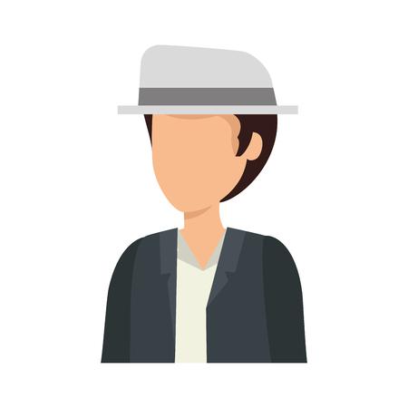 young man with elegant hat avatar character vector illustration design Ilustração