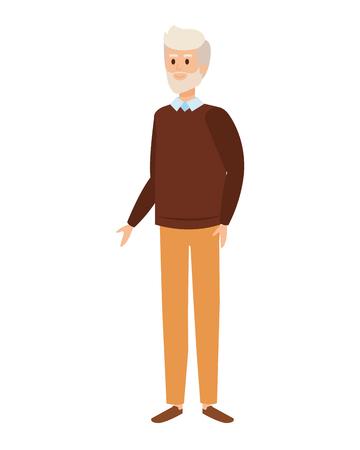Lindo abuelo avatar personaje vector ilustración diseño