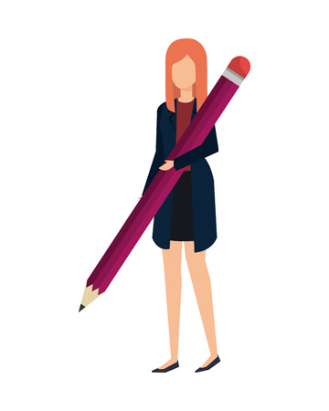 elegant businesswoman with pencil vector illustration design  イラスト・ベクター素材