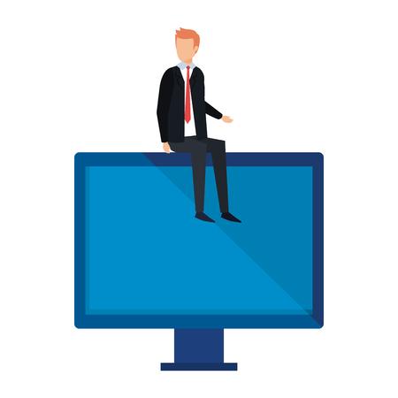 elegant businessman sitting in computer display vector illustration design Ilustração