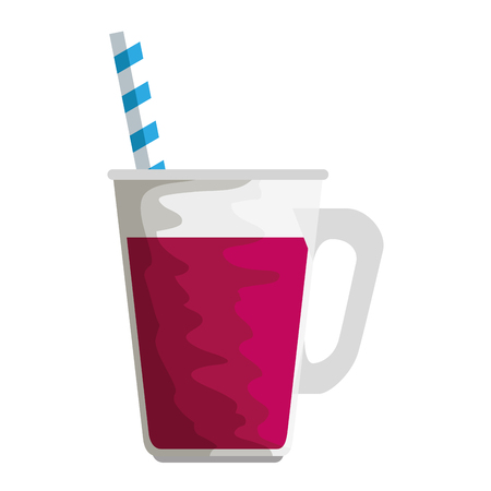 jar with beverage and straw vector illustration design